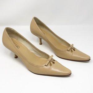 Coach Lynda tan pointed toe kitten heels bow